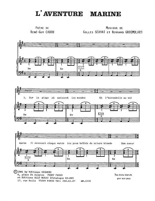 L'aventure Marine Sheet Music