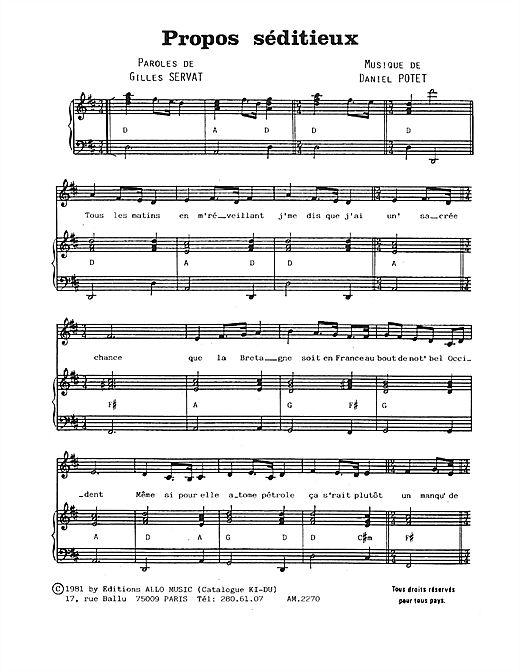 Propos Seditieux Sheet Music
