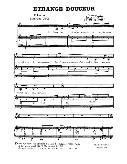 Etrange Douceur Sheet Music