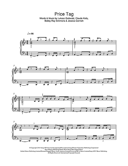 Price Tag Sheet Music