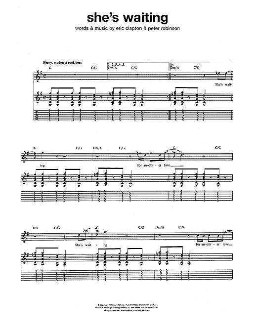 Tablature guitare She's Waiting de Eric Clapton - Tablature Guitare