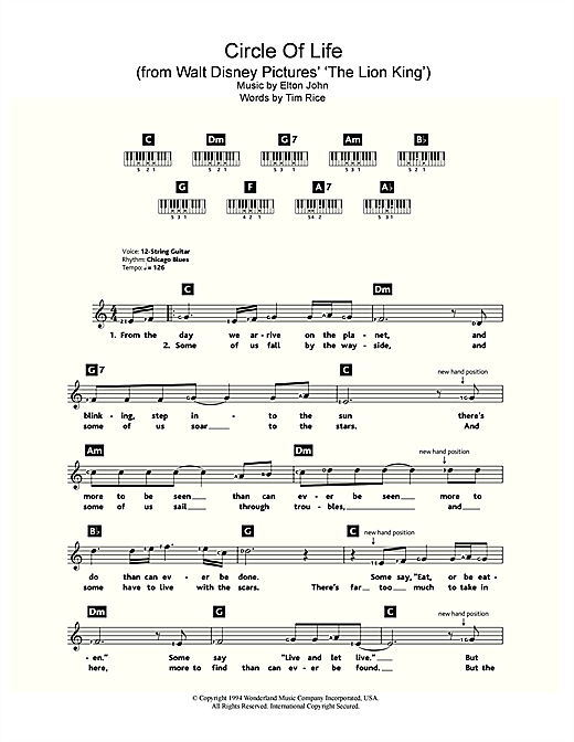 Circle Of Life (from Walt Disney Pictures' The Lion King) Sheet Music