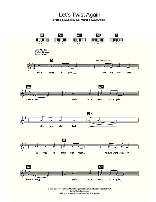 Let's Twist Again Sheet Music