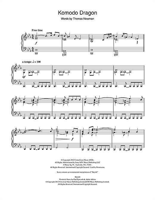 Komodo Dragon (from James Bond Skyfall) Sheet Music
