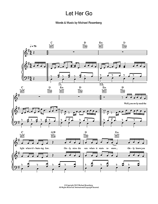 Let Her Go sheet music by Passenger (Piano, Vocal & Guitar (Right ...