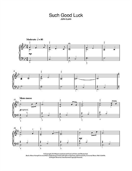 Such Good Luck Sheet Music