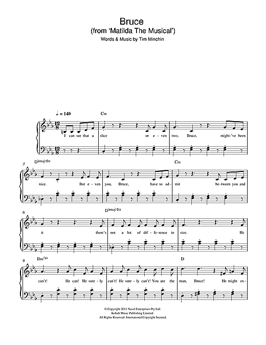 Bruce (From 'Matilda The Musical') Sheet Music