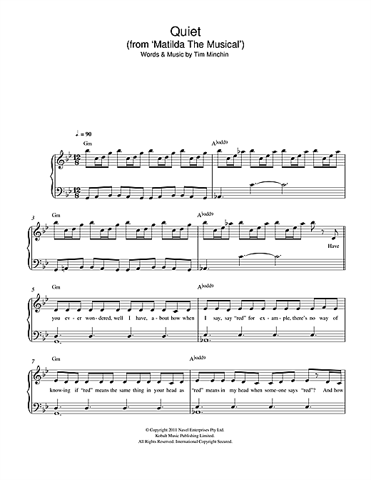 Quiet (From 'Matilda The Musical') Sheet Music