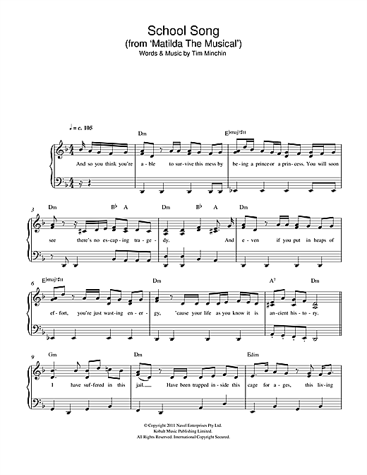 Partition piano School Song (From 'Matilda The Musical') de Tim Minchin - Piano Facile