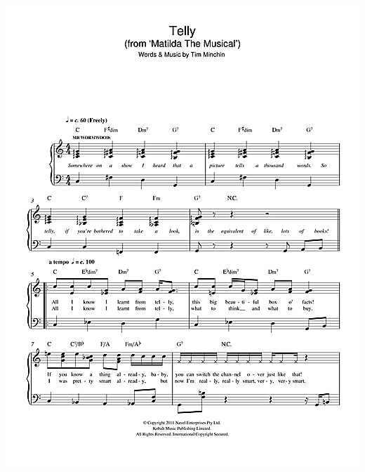 Telly (From 'Matilda The Musical') Sheet Music