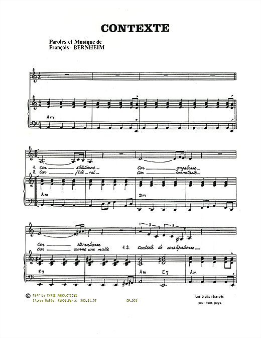 Contexte Sheet Music