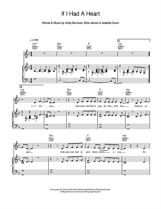 If I Had A Heart Sheet Music