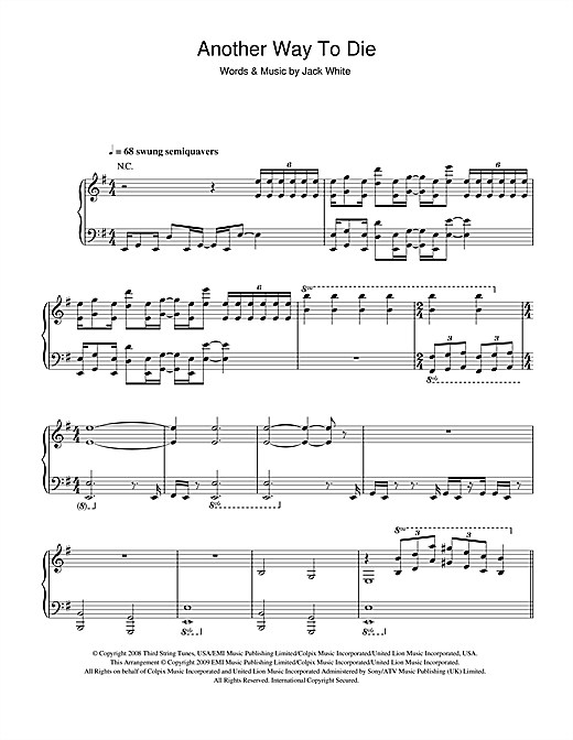 Another Way To Die (from James Bond: Quantum Of Solace) Sheet Music