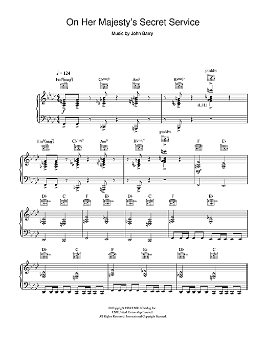 page one of On Her Majesty's Secret Service - Theme (from James Bond)ASALTTEXT