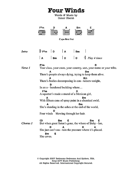 Four Winds sheet music by Bright Eyes (Lyrics & Chords – 116033)