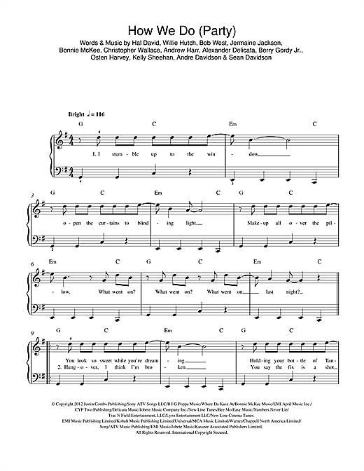 How We Do (Party) Sheet Music