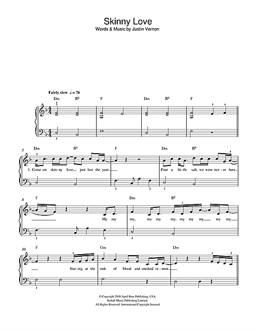 Birdy - Skinny Love sheet music for piano solo PDF-interactive