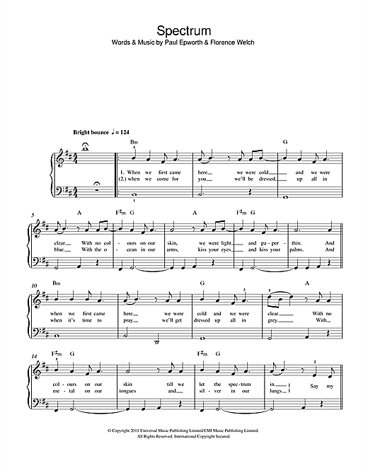 Spectrum Sheet Music