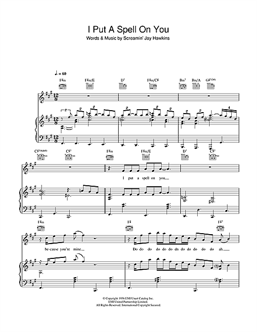 I Put A Spell On You Sheet Music