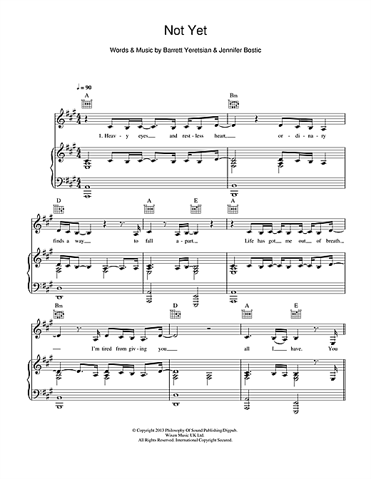 Not Yet Sheet Music