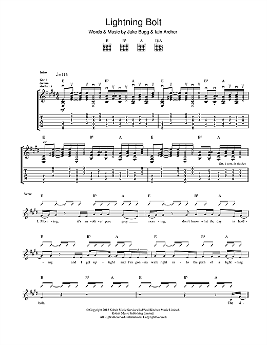 Tablature guitare Lightning Bolt de Jake Bugg - Tablature Guitare