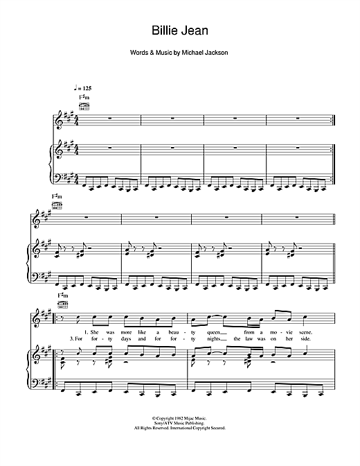 page one of Billie JeanASALTTEXT
