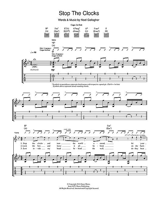 Stop The Clocks Sheet Music