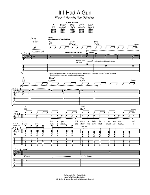 If I Had A Gun... (Guitar Tab)