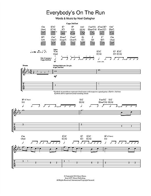 Everybody's On The Run Sheet Music