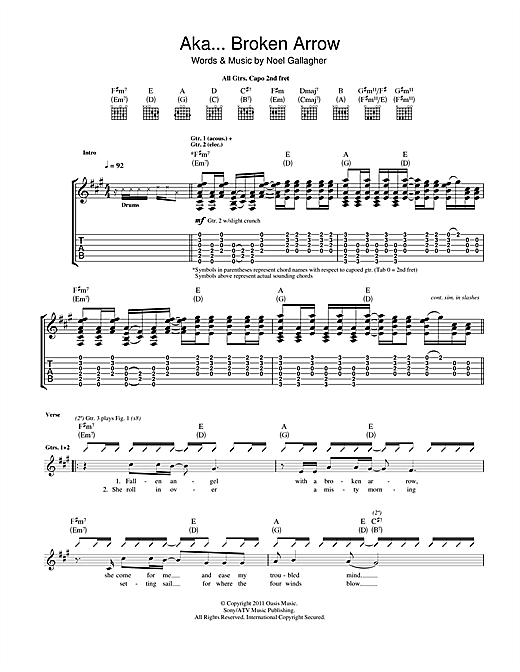 Tablature guitare AKA... Broken Arrow de Noel Gallagher's High Flying Birds - Tablature Guitare