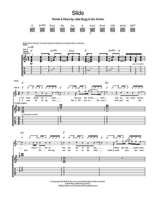Tablature guitare Slide de Jake Bugg - Tablature Guitare