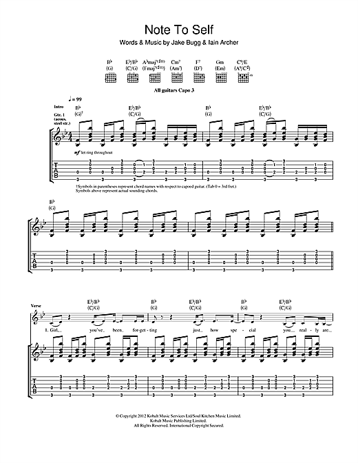 Note To Self Sheet Music