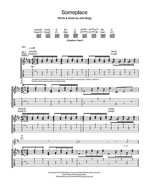 Tablature guitare Someplace de Jake Bugg - Tablature Guitare