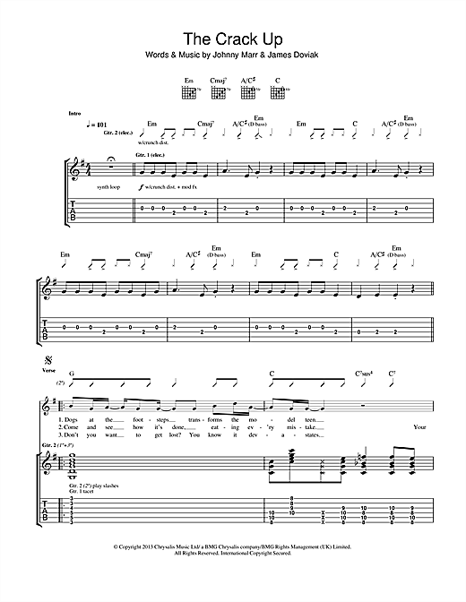 Tablature guitare The Crack Up de Johnny Marr - Tablature Guitare