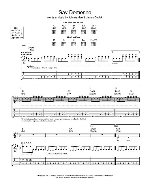 Tablature guitare Say Demesne de Johnny Marr - Tablature Guitare