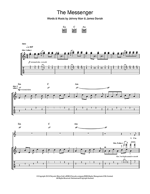 Tablature guitare The Messenger de Johnny Marr - Tablature Guitare