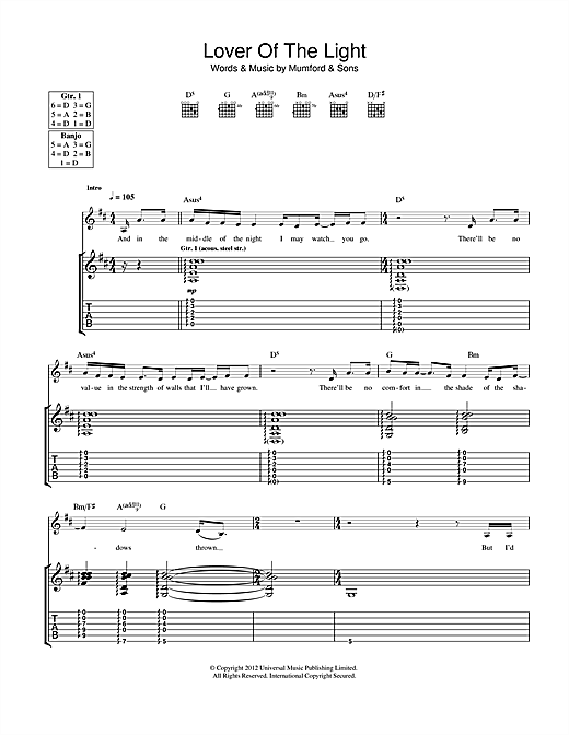 Tablature guitare Lover Of The Light de Mumford & Sons - Tablature Guitare