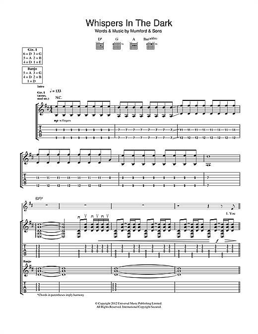 Tablature guitare Whispers In The Dark de Mumford & Sons - Tablature Guitare