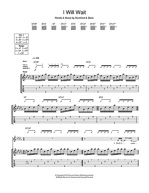 Tablature guitare I Will Wait de Mumford & Sons - Tablature Guitare