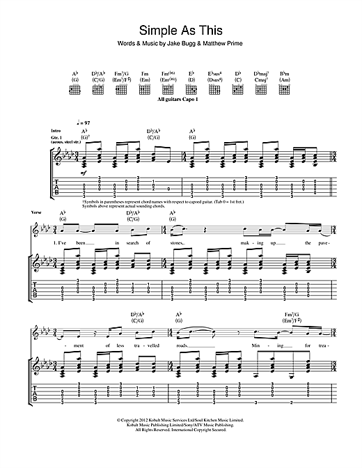 Tablature guitare Simple As This de Jake Bugg - Tablature Guitare