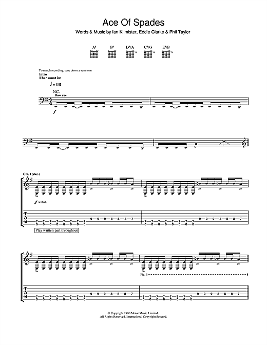 Tablature guitare Ace Of Spades de Motorhead - Tablature Guitare