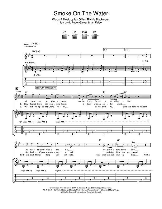 Tablature guitare Smoke On The Water de Deep Purple - Tablature Guitare