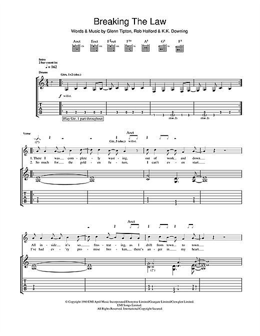 Tablature guitare Breaking The Law de Judas Priest - Tablature Guitare