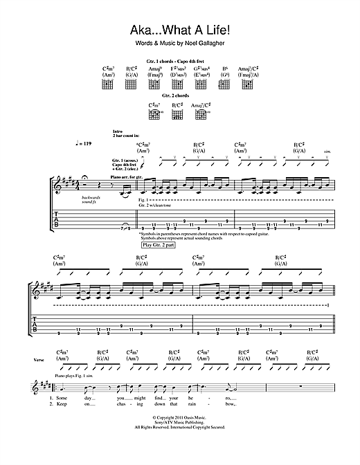Tablature guitare AKA... What A Life! de Noel Gallagher - Tablature Guitare