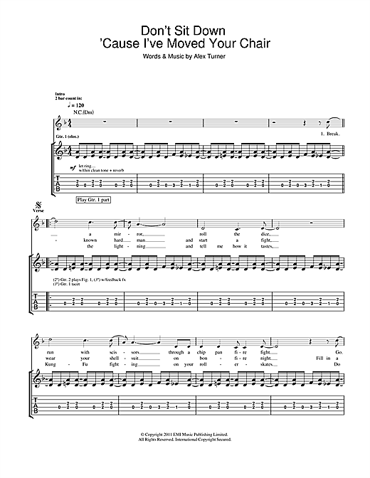 Don't Sit Down 'Cause I've Moved Your Chair Sheet Music