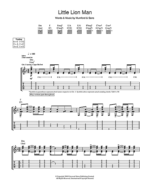 Ukulele ukulele tabs mumford and sons : Little Lion Man Guitar Tab by Mumford & Sons (Guitar Tab – 116142)