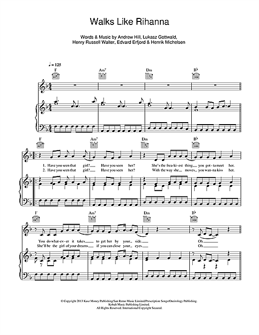 Walks Like Rihanna Sheet Music