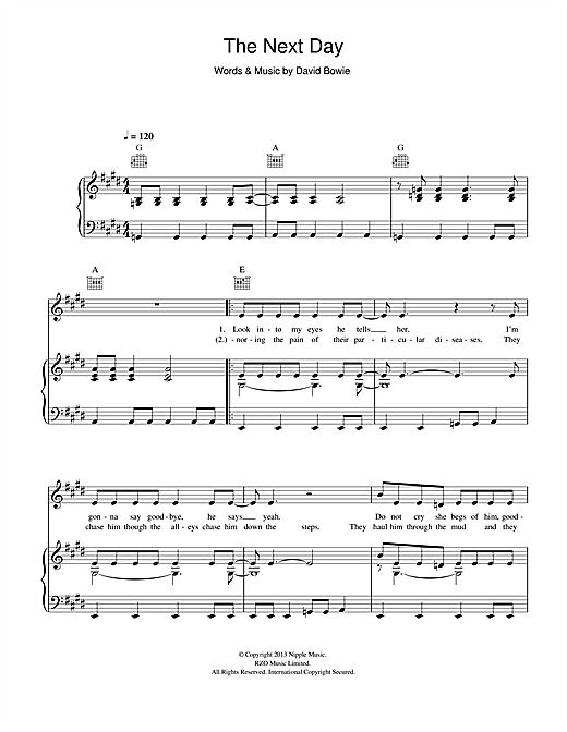 The Next Day Sheet Music