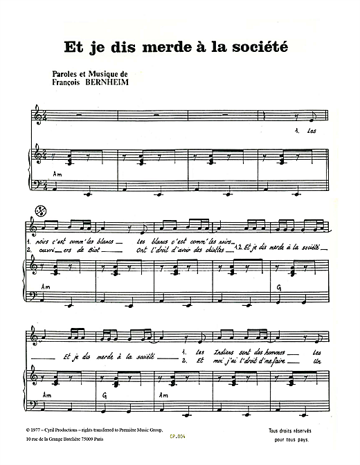 Et Je Dis Merde A La Societe Sheet Music