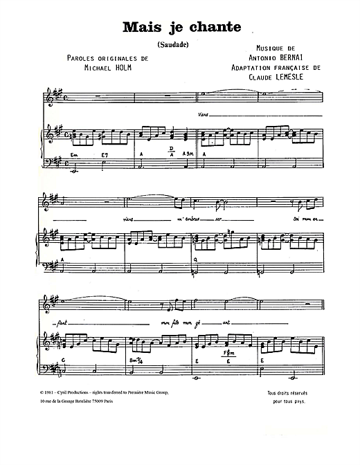 Mais Je Chante (Saudade) Sheet Music